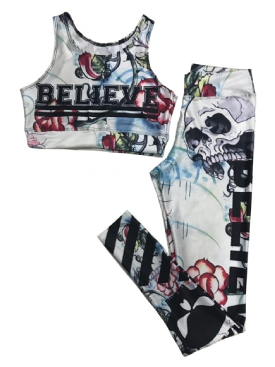 Conjunto Calça Legging e Top Personagens Academia Moda Fit