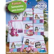 Semaninha Pinguins para bordar (8 pe�as)