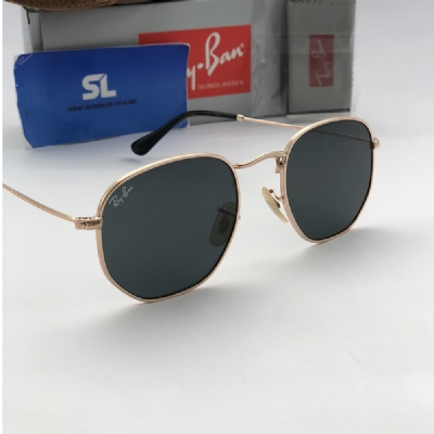 Ray Ban Hexagonal 51MM Premium - Dourado   Preto 3548-N 8785440f39