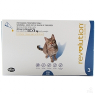 Anti Pulgas e Carrapatos Zoetis Revolution 6% para Gatos de 2,5 a 7,5 kg - 45 mg - 3 Ampolas