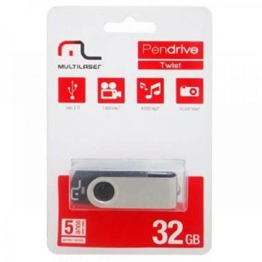 Pen drive Multilaser Twist Preto 32GB - PD589